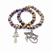 Nubian Bracelet 2pc Set II (Tiger Eye)