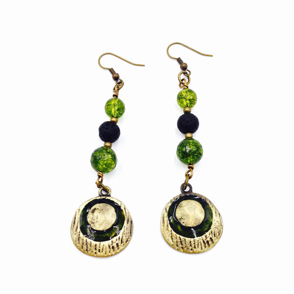 Lava Stone & Peridot Quartz Earrings