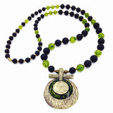 Lava Stone & Peridot Quartz Necklace (One of a Kind)