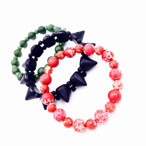 3Pc RBG Spike Bracelet Set