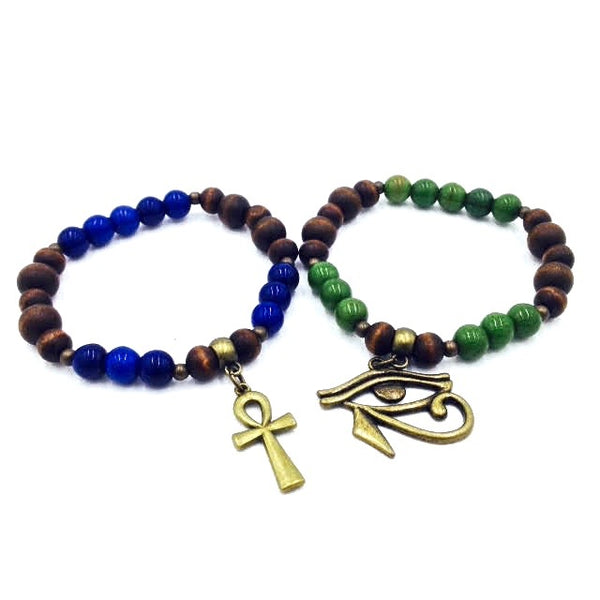 Ebony Wood & Turquoise Bracelet 2pc Set (Green/Blue)