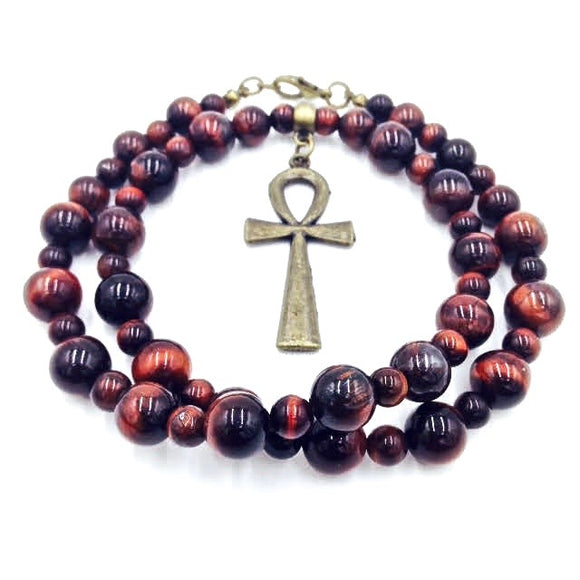 Red Tiger Eye & Bronze Ankhlace™