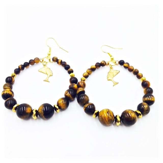 Tiger Eye Nefertiti Hoop Earrings