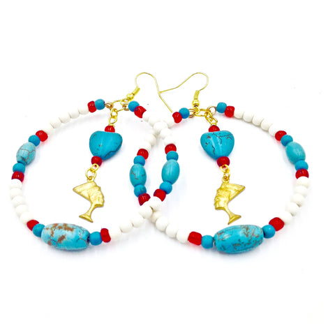 Blue, Red and Cream Turquoise Nefertiti Hoop Earrings