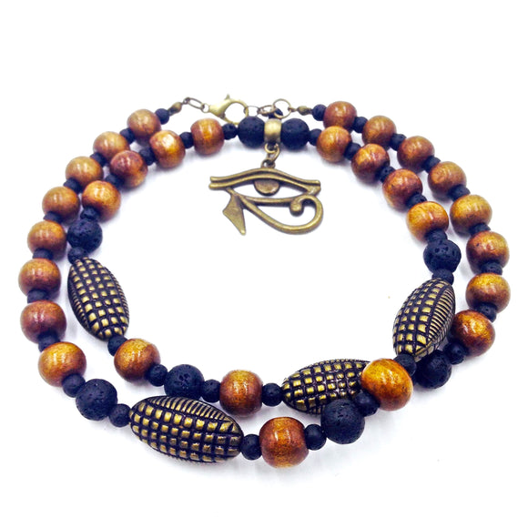 Amber & Bronze Eye of Heru Necklace