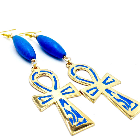 Blue Turquoise Ankh Earrings III