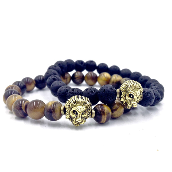 Lion & Tiger Eye / Lava Stone Bracelet Set