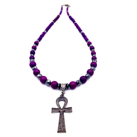 Black Hematite & Purple Howlite Ankhlace™