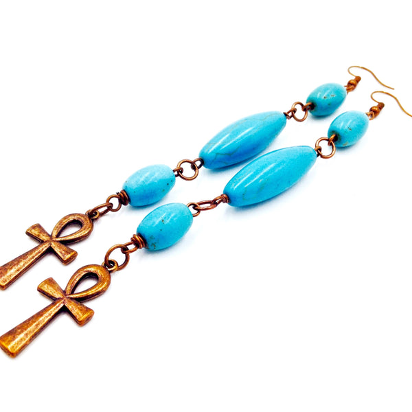 Blue Turquoise / Copper Ankh Earrings III