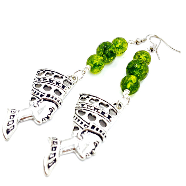 Green Peridot Nefertiti Earrings