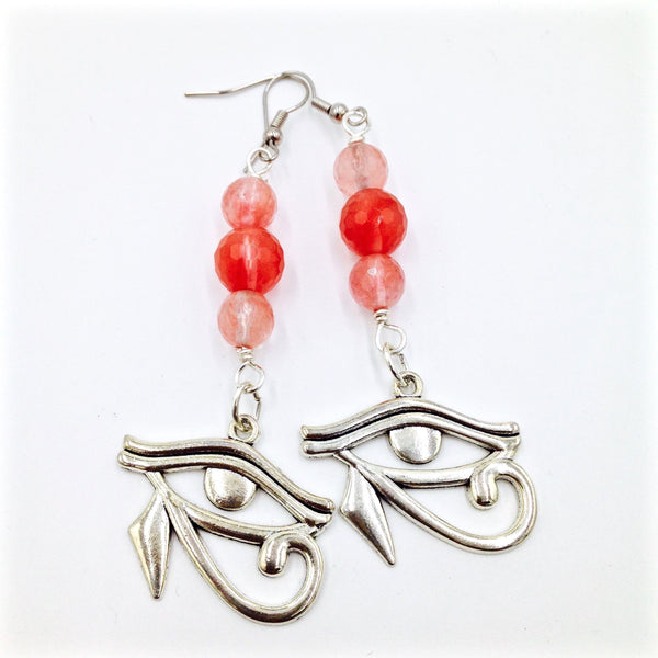 Rose Quartz Eye of Heru Earrings