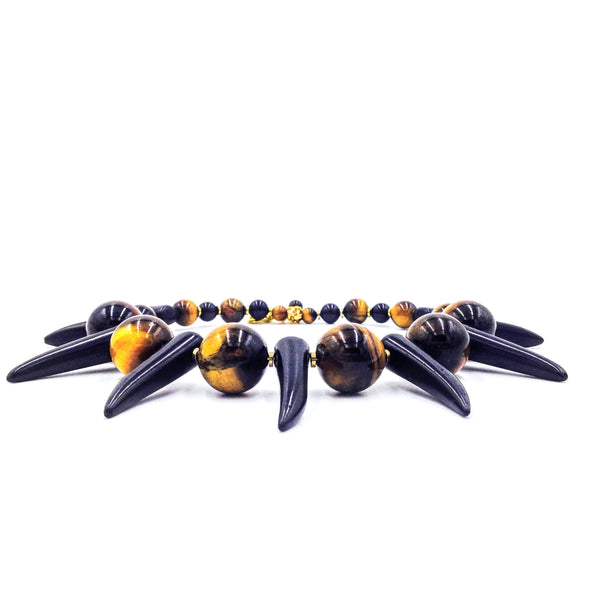 Tiger Eye Shaka Zulu Tribal Neckpiece (Black)