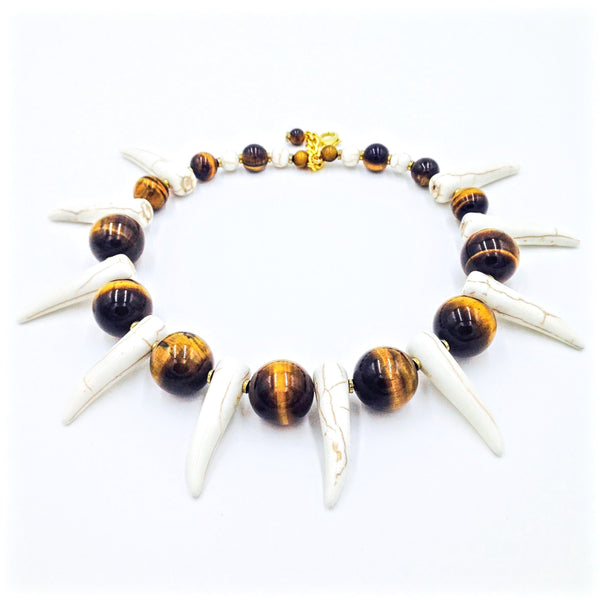 Tiger Eye Shaka Zulu Tribal Neckpiece (Cream)