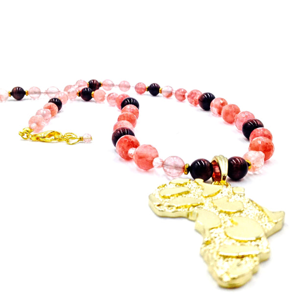 Cherry Quartz & Red Tiger Eye Africa Neckpiece (Gold)