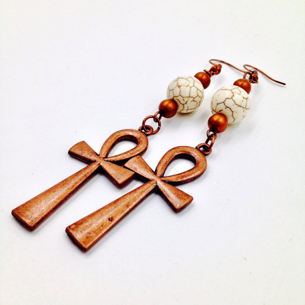 Cream Turquoise / Copper Ankh Earrings