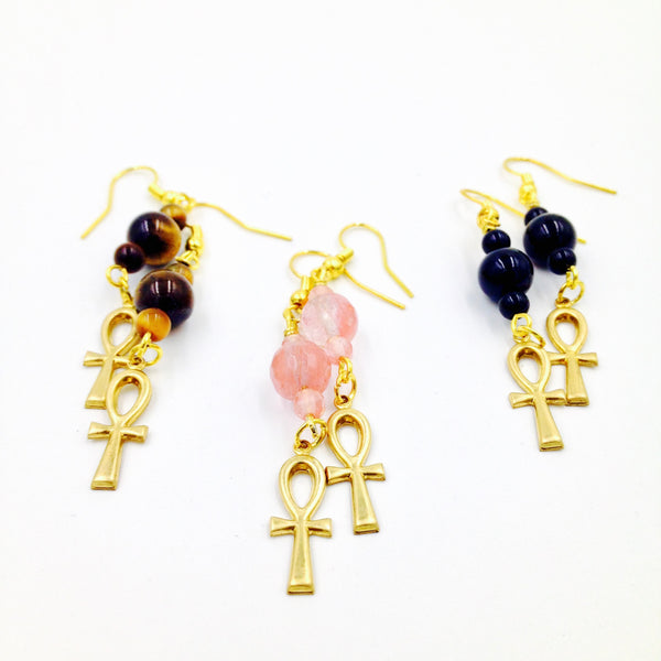 Tiny Gold Ankh Earrings