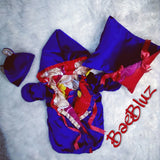 Reversible Baby Bunting Made of African Ankara Cotton & Ultra Plush Valour