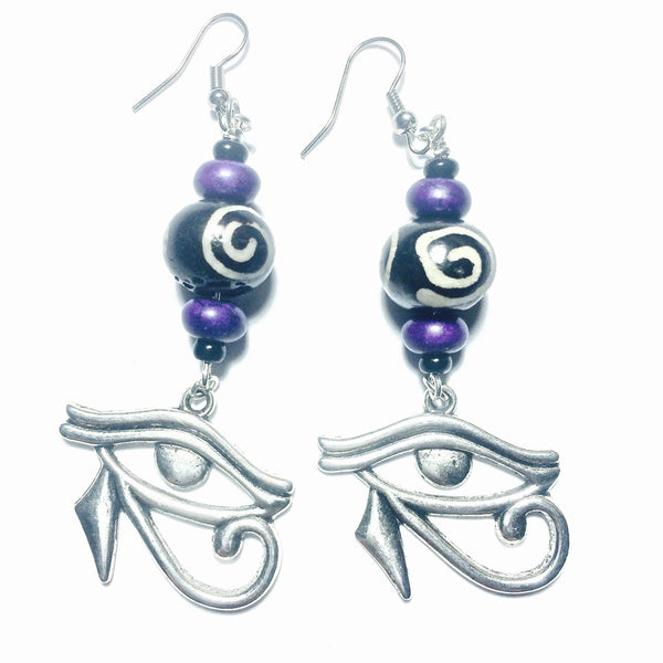 Purple Howlite and Bone / Silver Eye of Horus Earrings