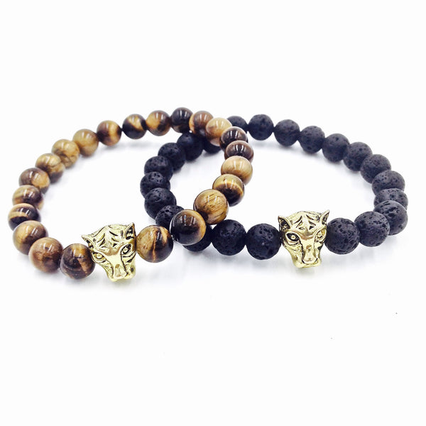 Tiger's Eye / Lava Stone Bracelet Set