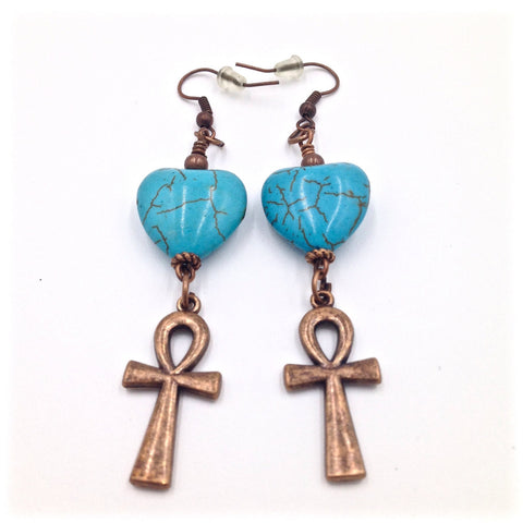 Turquoise Heart / Copper Ankh Earrings