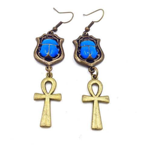 Blue Scarab / Bronze Ankh Earrings