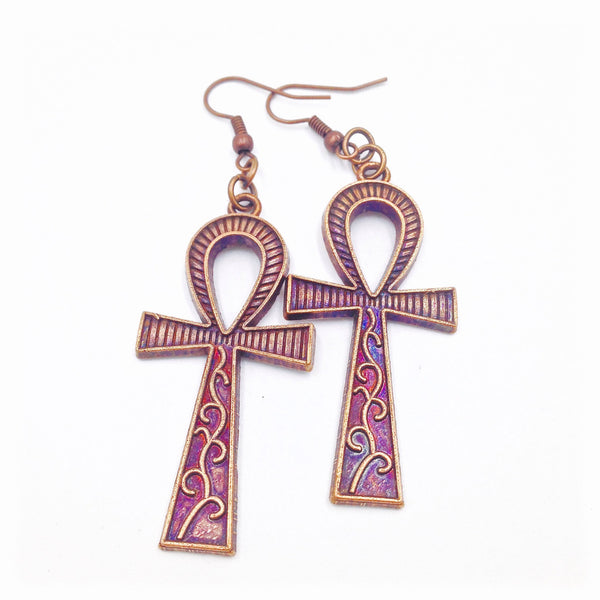 Antique Copper Ankh Earrings