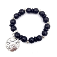 Black Wood / Silver Eye of Horus Bracelet
