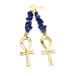 Lapis Lazuli / Gold Ankh Earrings