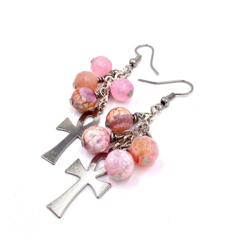 Pink Agate / Silver Ankh Earrings
