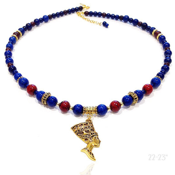 Goddess Neckpiece (Blue/Coffee Red)