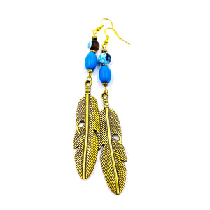 Blue Snake Agate / Turquoise Feather Earrings