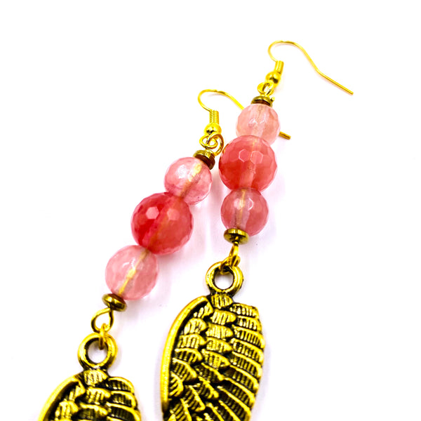 Wings of Ma'at Earrings - Faceted Cherry Quartz
