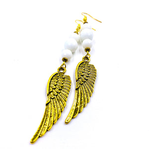 Wings of Ma'at Earrings - Faceted White Jade