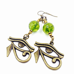 Bronze & Peridot Eye of Heru Earrings