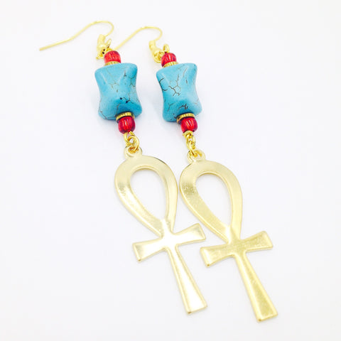 Turquoise and Gold Ankh Earrings II
