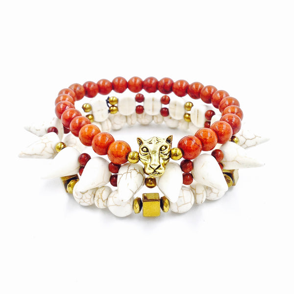 3Pc Tribal Spike Bracelet Set ( Cream )