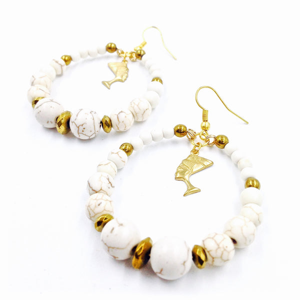 Cream Turquoise Nefertiti Hoop Earrings