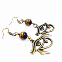 Tiger Eye and Bronze Eye of Heru Earrings