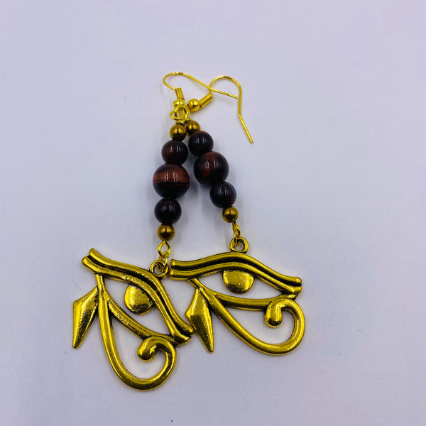 Tiger Eye (Red) w/ Eye of Heru Earrings
