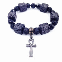 Black Faceted Onyx & Square Lava Stone Ankh Bracelet