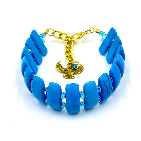 Blue Turquoise & Blue Crystal Bracelet w/Ma'at