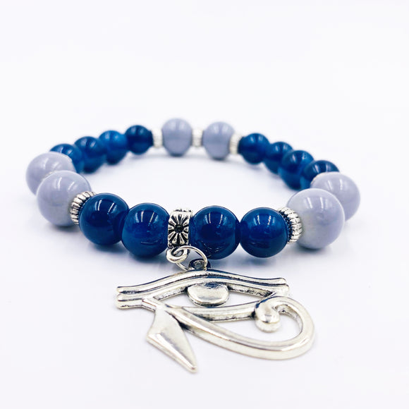 Navy Blue / Silver Eye of Heru Bracelet