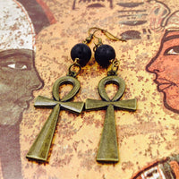 Lava Stone Bronze Ankh Earrings
