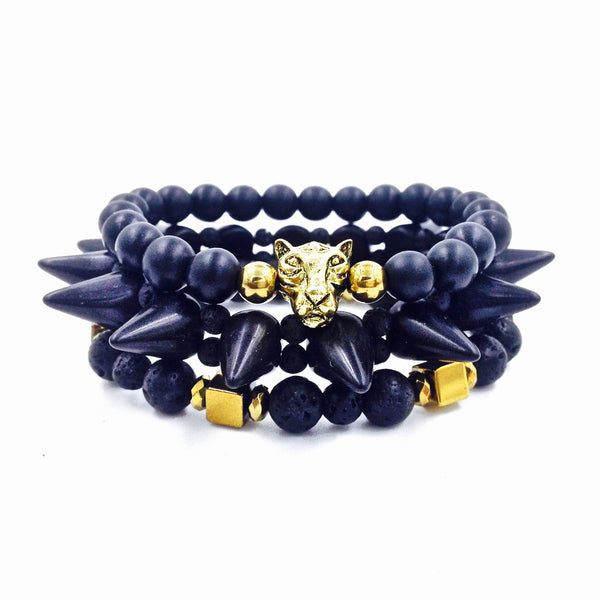 3Pc Tribal Spike Bracelet Set {Black}