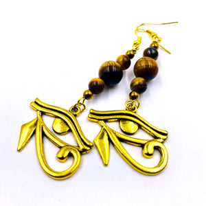 Tiger Eye (Yellow) w/ Eye of Heru Earrings