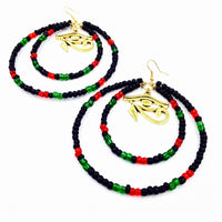 RBG Double Hoop Eye of Heru Earrings