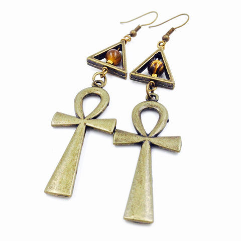 Tiger Eye Pyramid Bronze Ankh Earrings