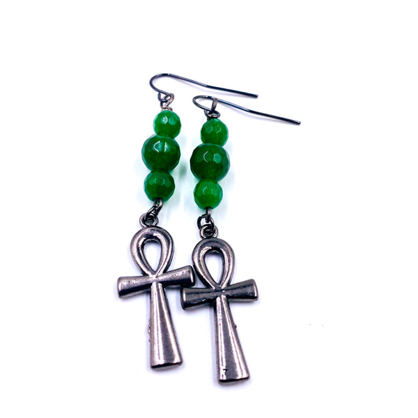 Green Jade / Dark Metal Ankh Earrings