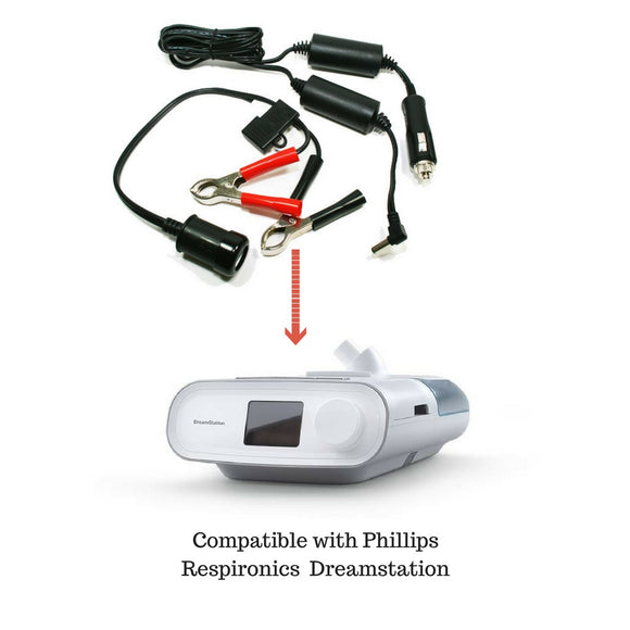 12V DC Power Cord with Battery Adapter Bundle for Dreamstation CPAP/BIPAP.