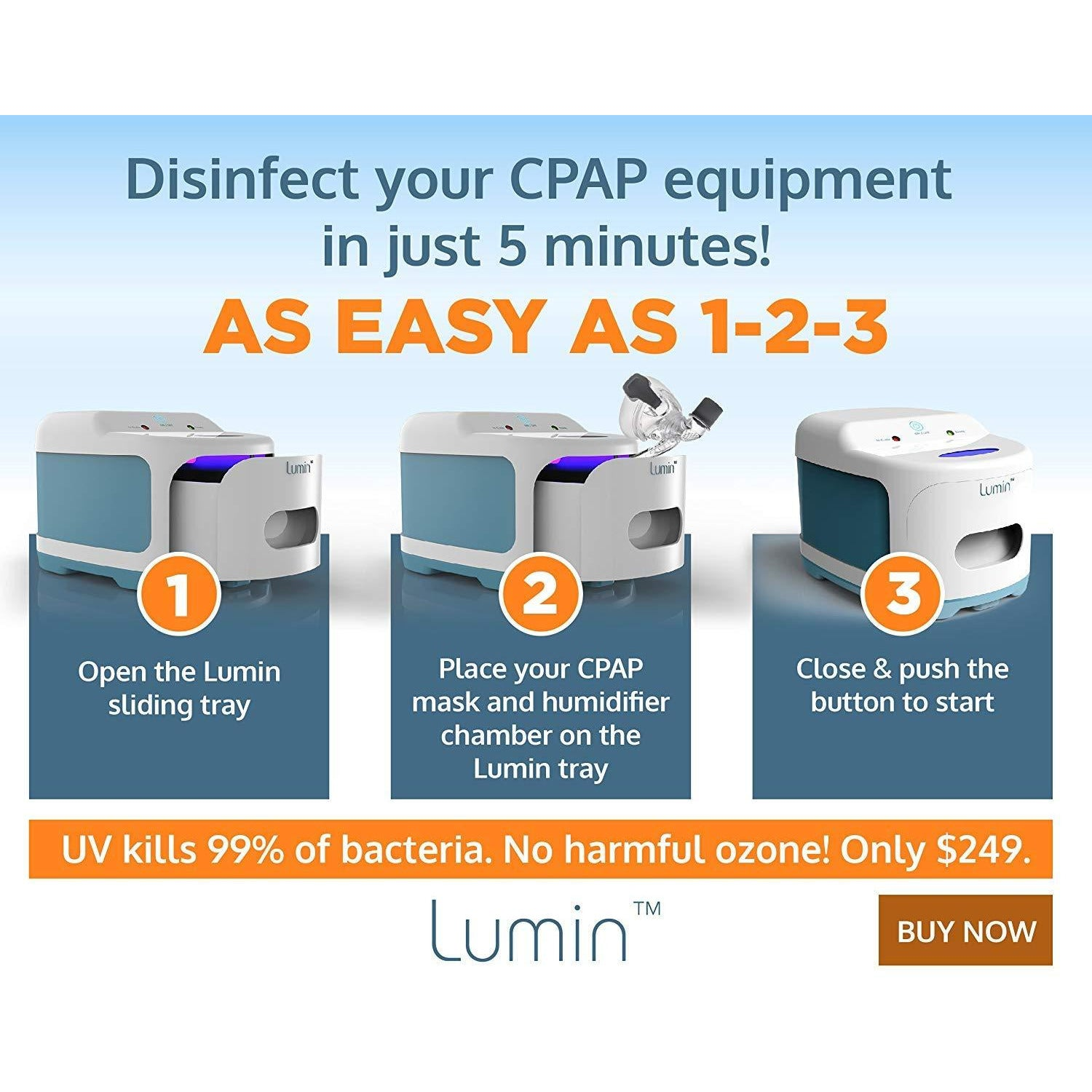CPAP Cleaner & Sanitizer by Lumin | NO OZONE | UV Light to Kill Germs and Pathogens